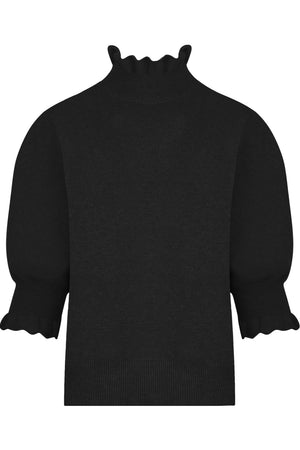 PUFF SLEEVE KNIT TOP S/S BLACK