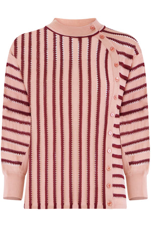 STRIPE BUTTONED KNIT L/S FALLOW PINK