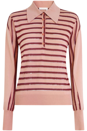 STRIPE COLLARED KNIT L/S FALLOW PINK