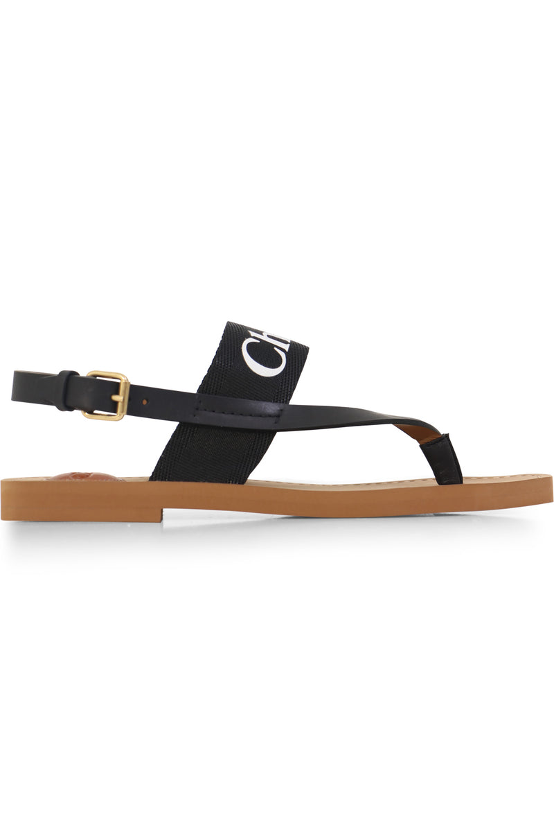 WOODY LOGO THONG SANDAL BLACK