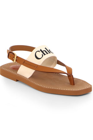 WOODY LOGO THONG SANDAL WHITE