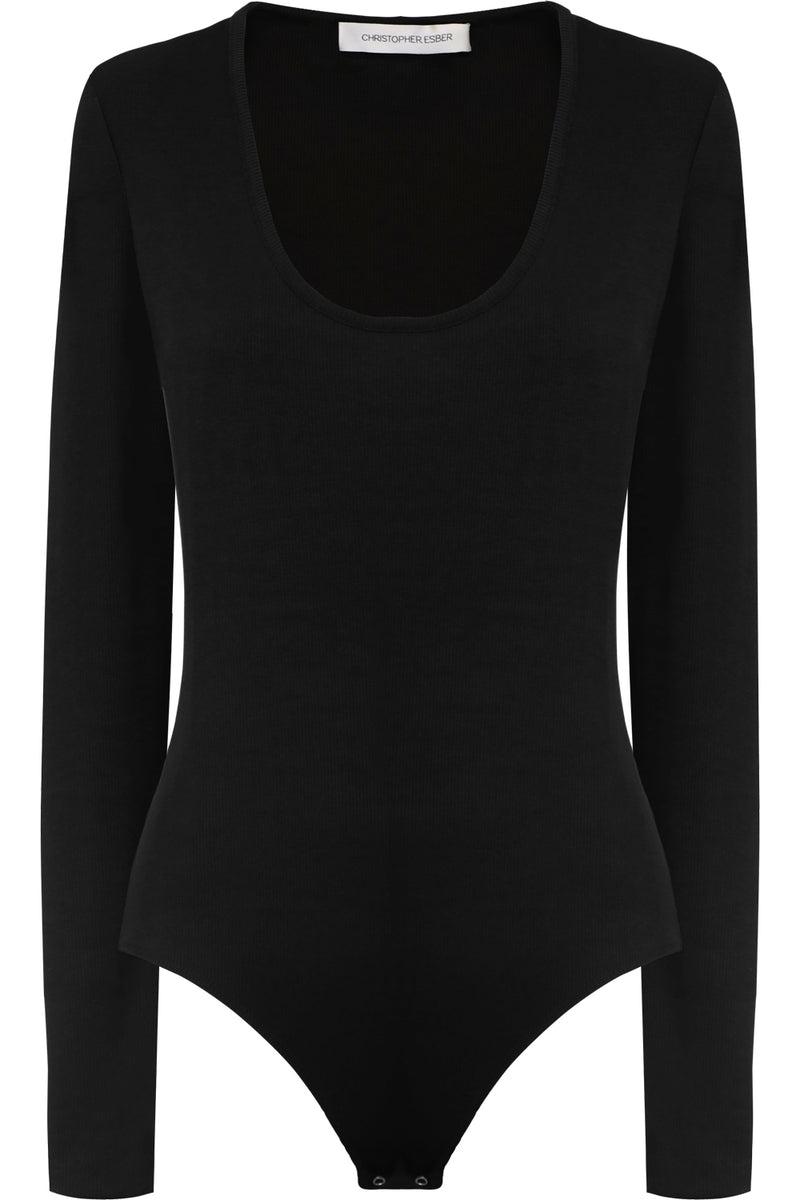 RIBBED BODYSUIT L/S BLACK