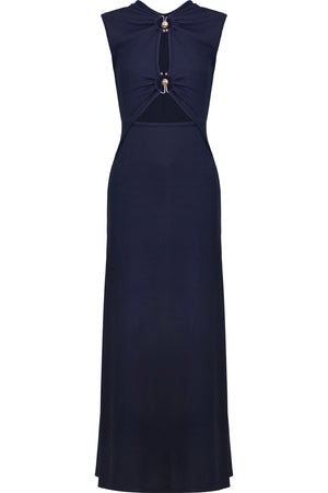 ORBIT RUCHED DRESS S/LESS NAVY