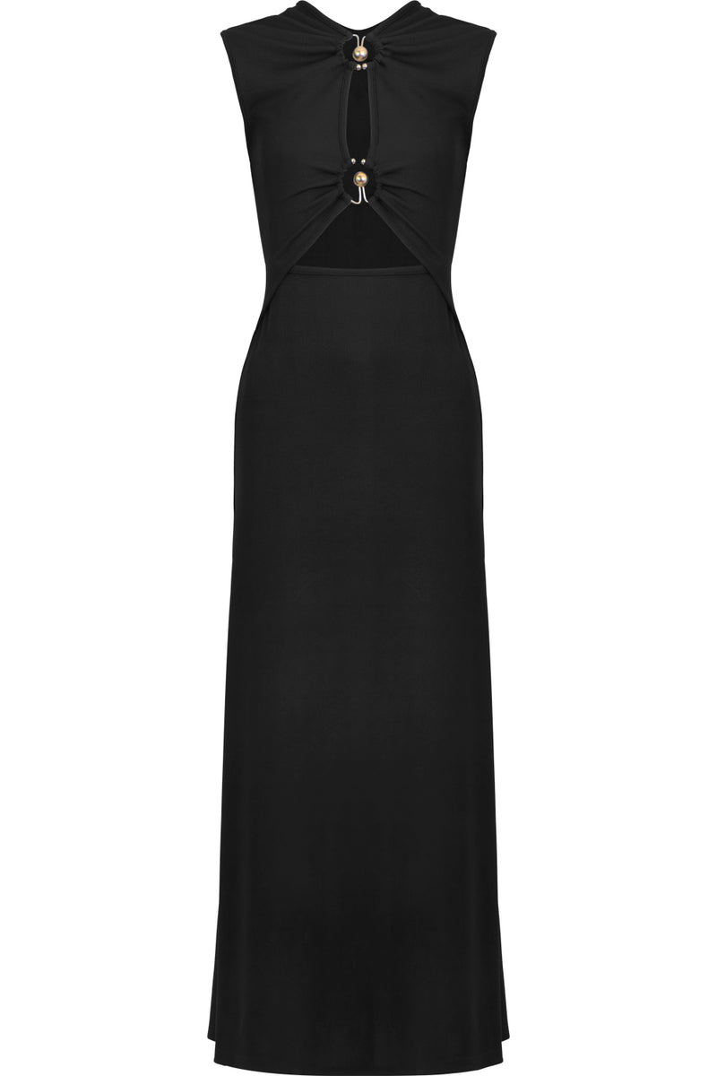 ORBIT RUCHED DRESS S/LESS BLACK