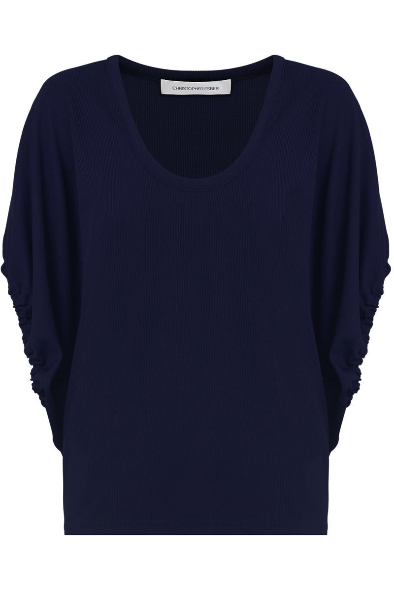 RUCHED CAP/SL TOP NAVY