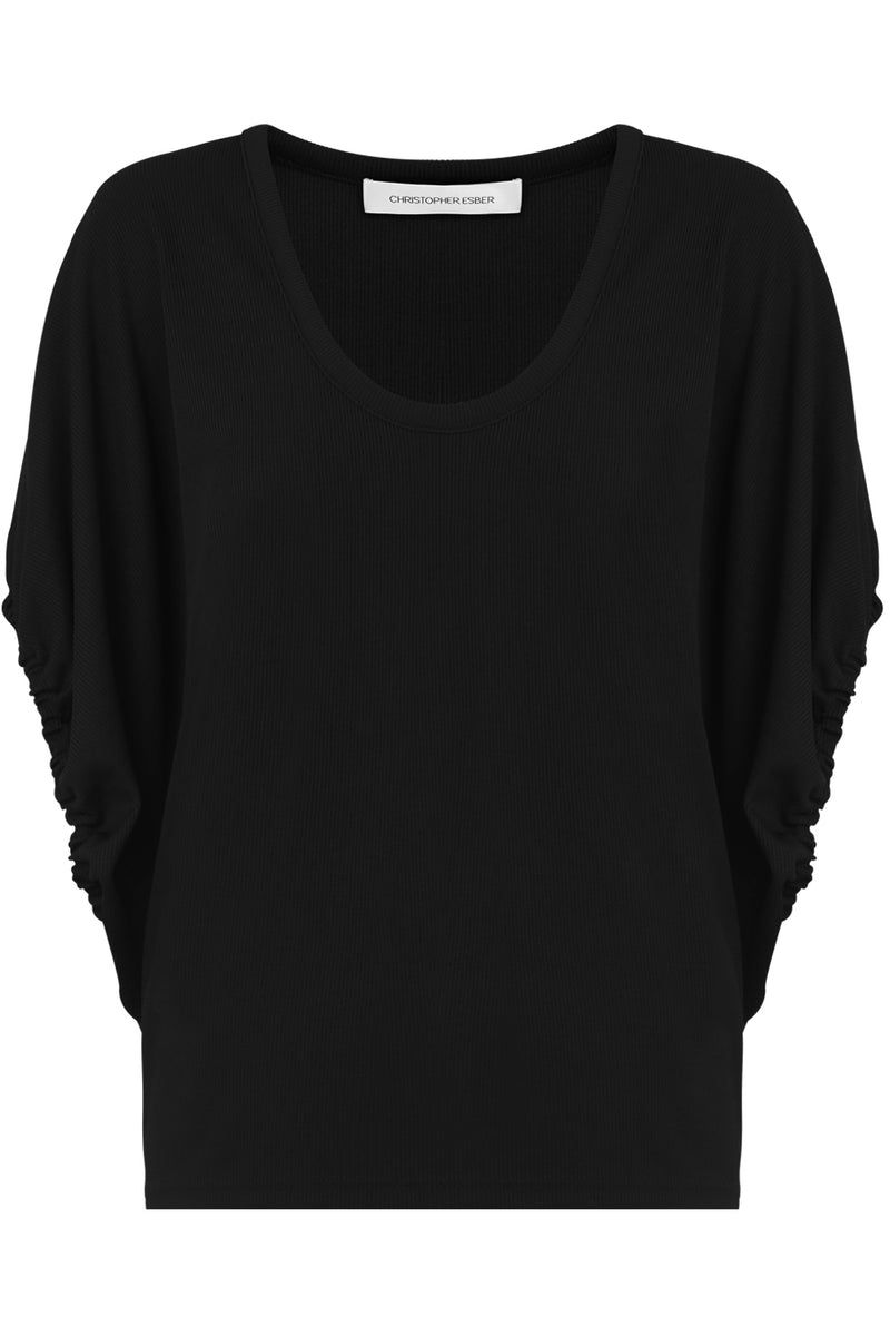 RUCHED CAP/SL TOP BLACK