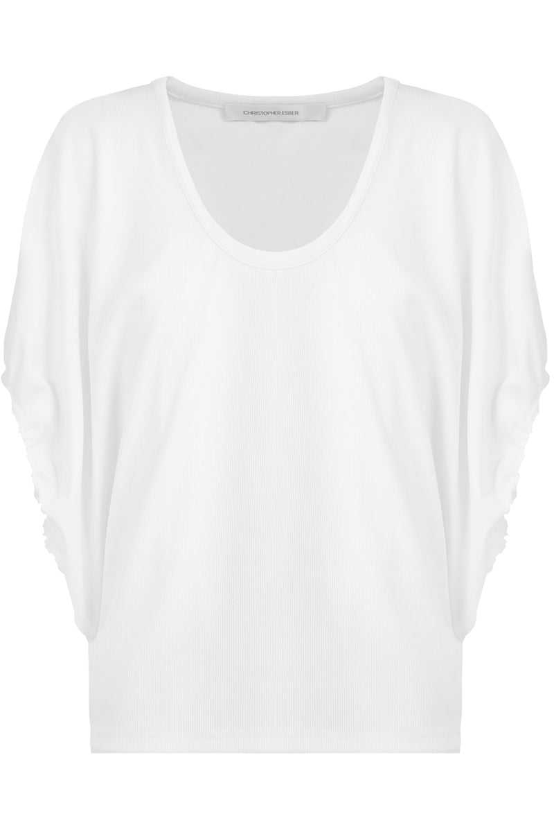 RUCHED CAP/SL TOP WHITE