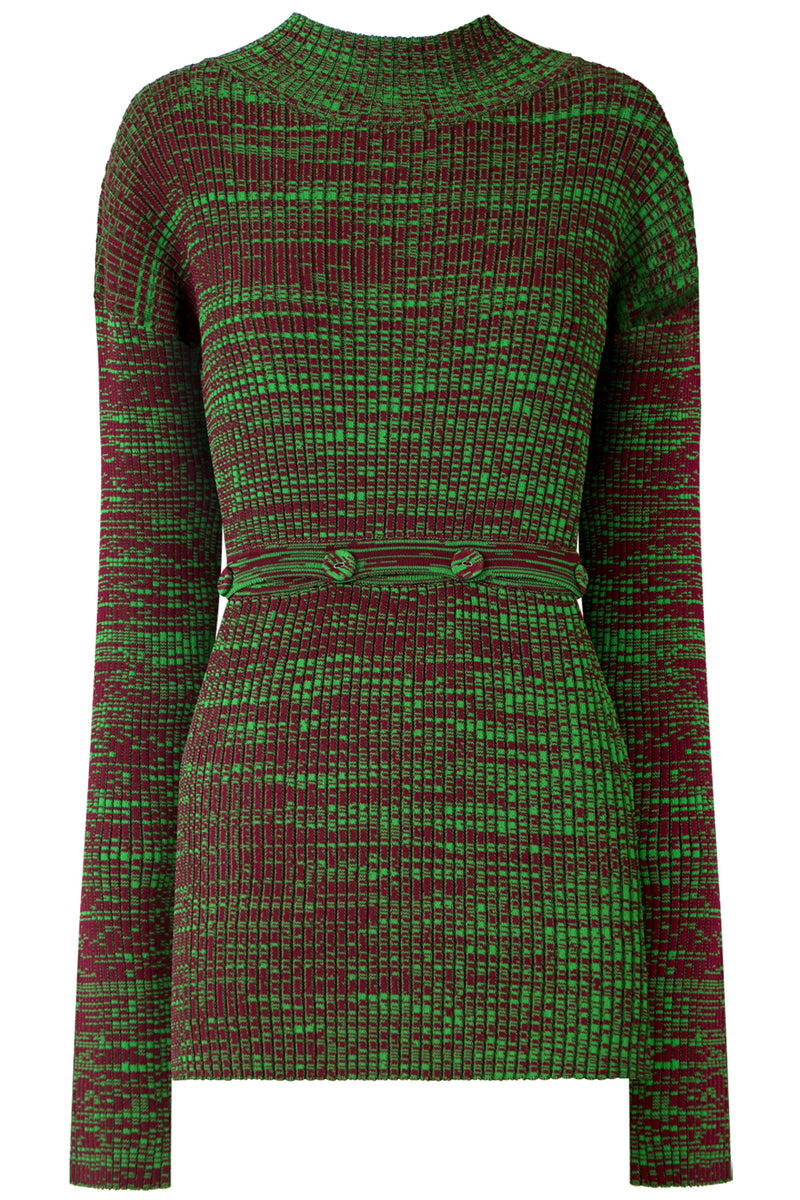 DECONSTRUCTED TURTLENECK KNIT L/S GREEN/MAROON