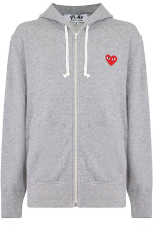 PLAY MENS RED HEART ZIPPED HOODY LIGHT GREY