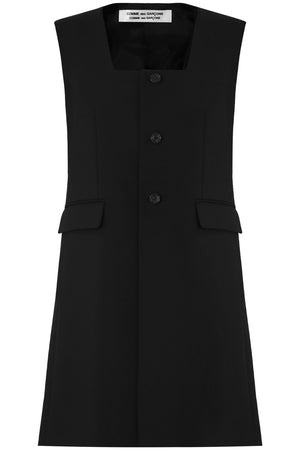LONGLINE BUTTONED S/LESS JACKET BLACK