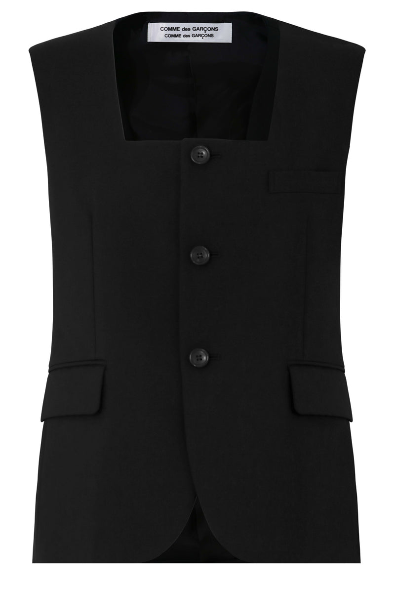 BUTTONED S/LESS JACKET BLACK
