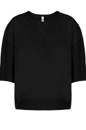 COTTON FLARE BLOUSE 3/4SL BLACK