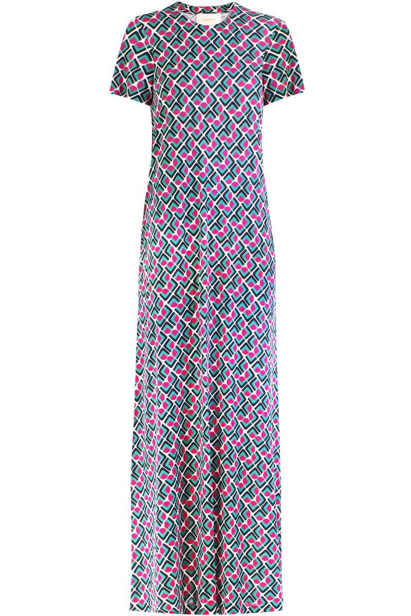 DOMINO VERDE MAXI DRESS S/S MULTI