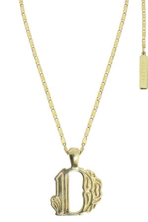LETTER 'D' ALPHABET NECKLACE GOLD