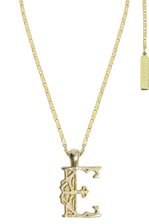 LETTER 'E' ALPHABET NECKLACE GOLD