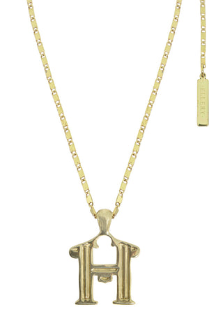 LETTER 'H' ALPHABET NECKLACE GOLD