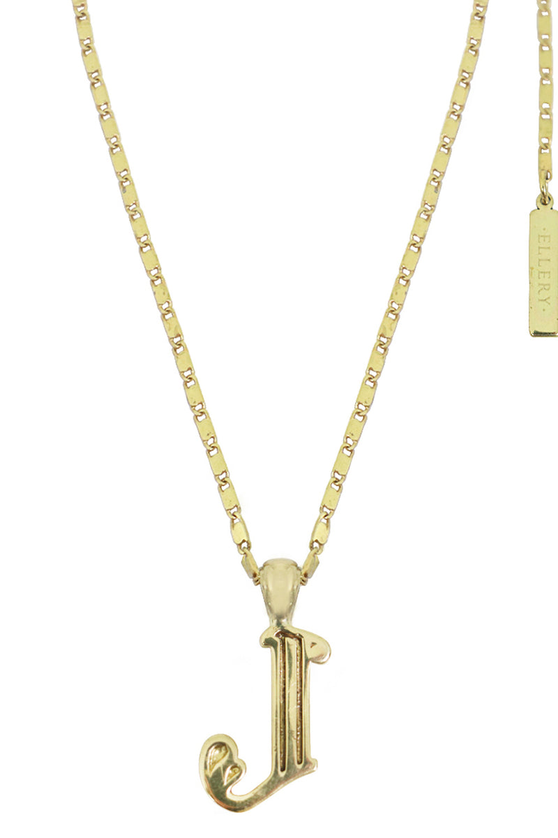 LETTER 'J' ALPHABET NECKLACE GOLD