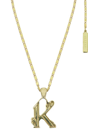 LETTER 'K' ALPHABET NECKLACE GOLD
