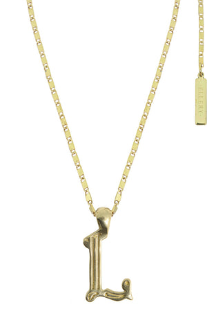 LETTER 'L' ALPHABET NECKLACE GOLD