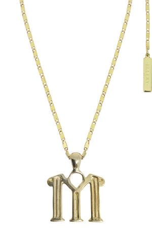 LETTER 'M' ALPHABET NECKLACE GOLD