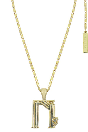 LETTER 'N' ALPHABET NECKLACE GOLD