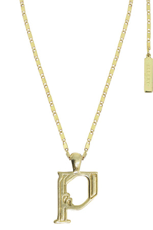 LETTER 'P' ALPHABET NECKLACE GOLD