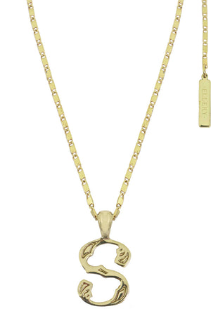 LETTER 'S' ALPHABET NECKLACE GOLD