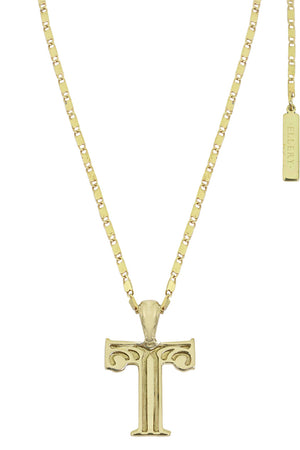 LETTER 'T' ALPHABET NECKLACE GOLD