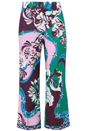 FLOWER PRINT CROPPED WIDE LEG PANTS GREEN/PURPLE