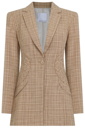 TAILORED DISC BLAZER NATURAL CHECK