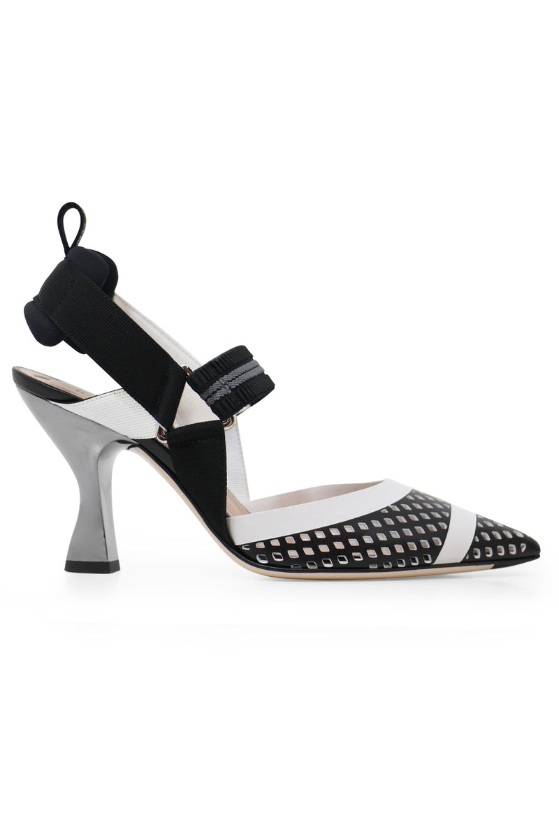 MESH SLINGBACK 85MM BLACK/WHITE
