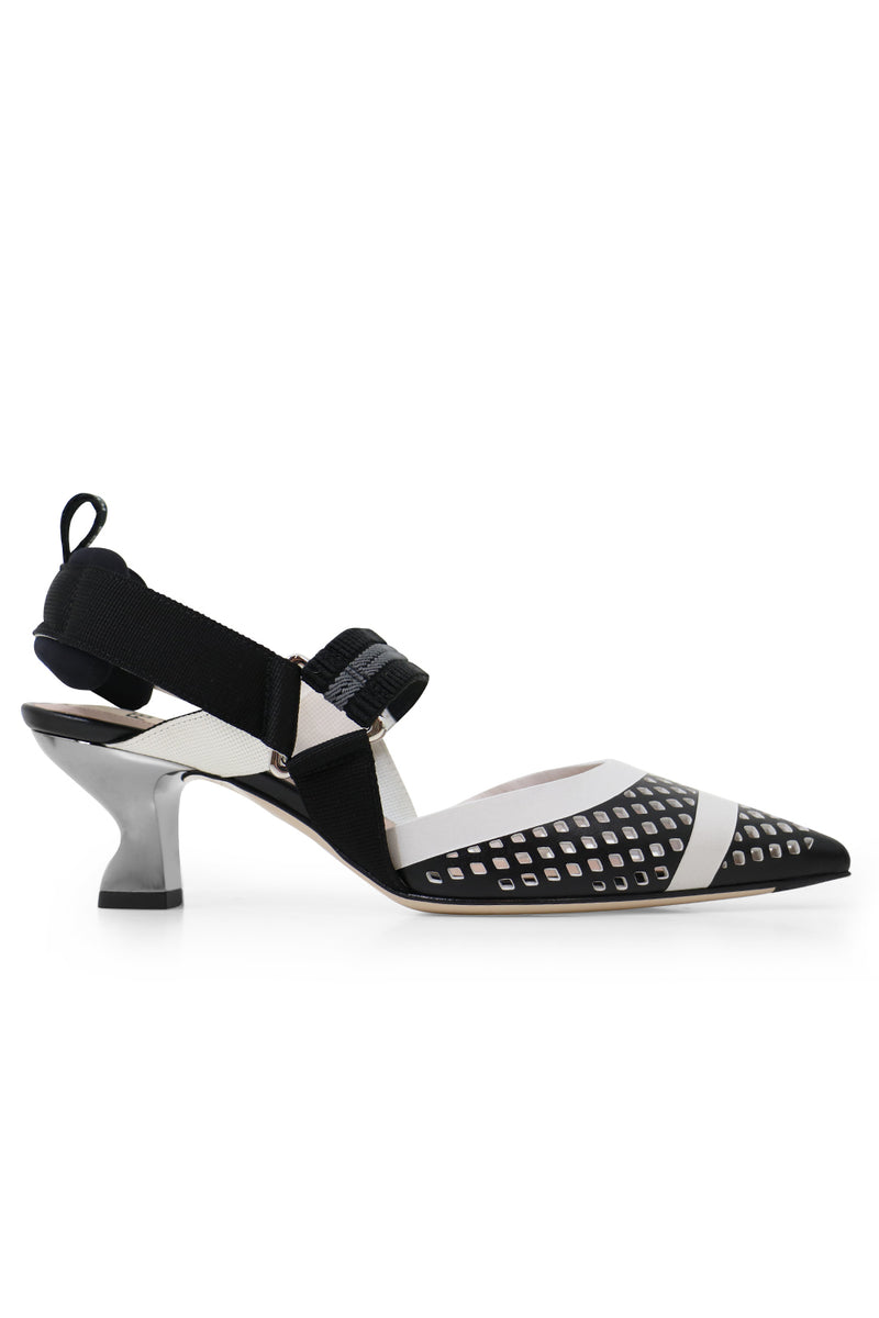 MESH SLINGBACK 55MM BLACK/WHITE