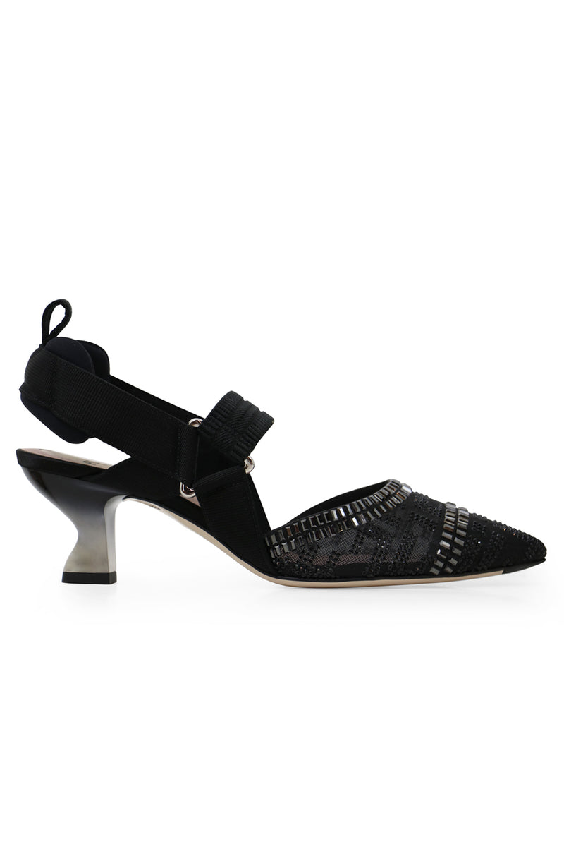 CRYSTAL SLINGBACK 55MM BLACK