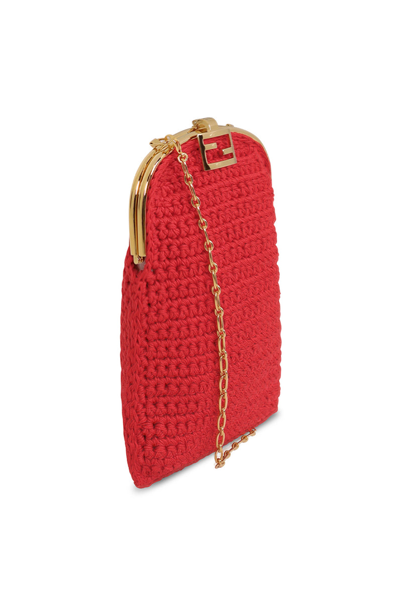 BIJOU BAGUETTE CROCHET BAG RED