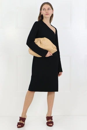 CUTOUT KNIT DRESS L/S BLACK