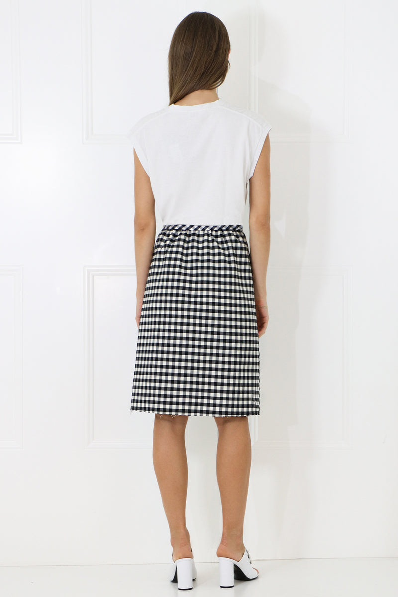 HERRINGBONE A-LINE SKIRT WITH SPLIT BLACK/WHITE