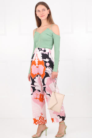 TROPICAL PRINT CROPPED PANTS BLACK/PINK