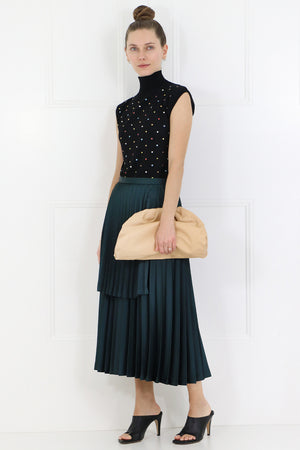 NOIR ASYMMETRIC PLEATED SKIRT GREEN