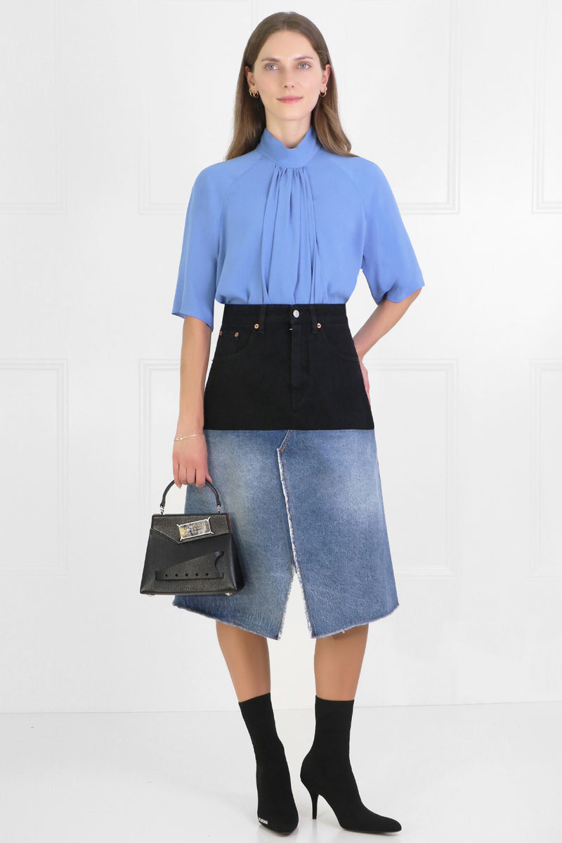 CONTRAST DENIM SKIRT BLUE/BLACK