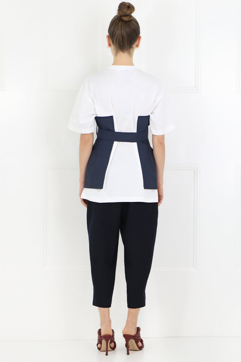 BELTED BODICE T-SHIRT S/S WHITE/NAVY
