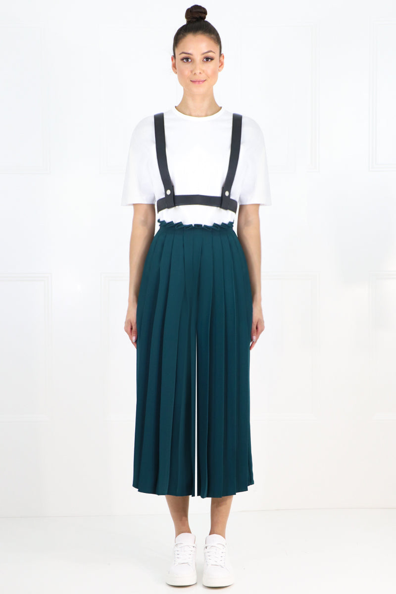 CROPPED PLEATED CULOTTES DUCK GREEN