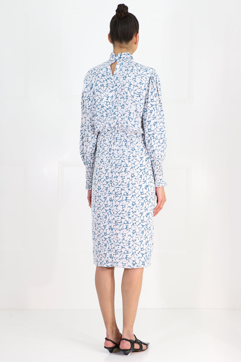 ETOILE SILOE PRINTED MIDI DRESS L/S GREYISH BLUE