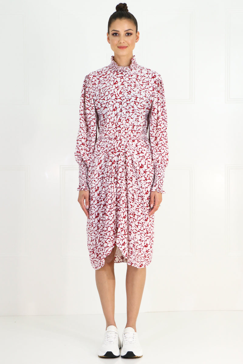 ETOILE SILOE PRINTED MIDI DRESS L/S RASPBERRY