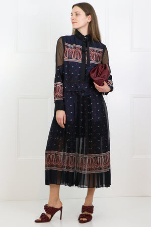 PAISLEY PRINT MAXI DRESS NAVY