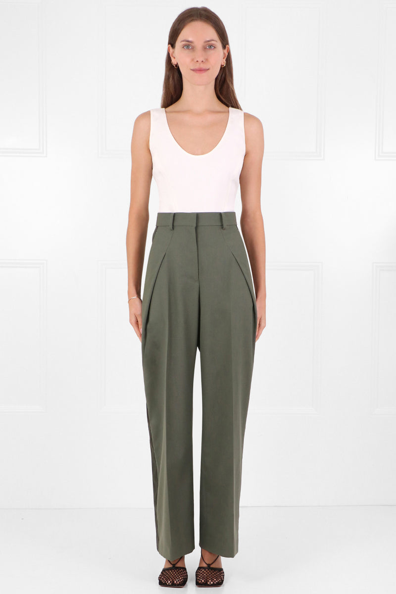 SATIN PANEL TROUSERS KHAKI