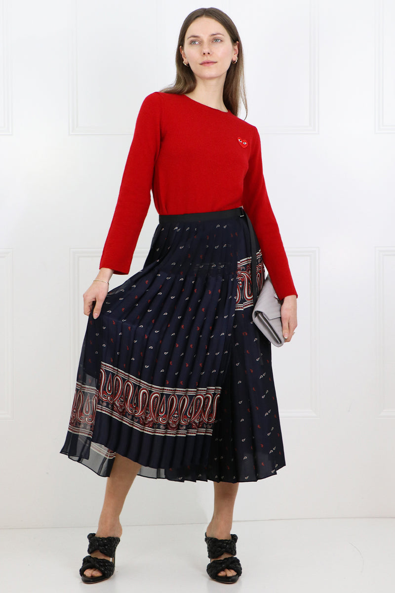 PAISLEY PRINT PLEATED SKIRT NAVY