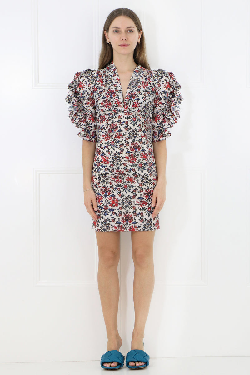 FARAH RUCHED DRESS S/S RED