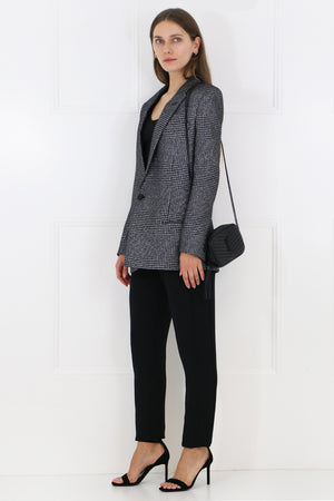 OVERSIZED METALLIC CHECK BLAZER SILVER
