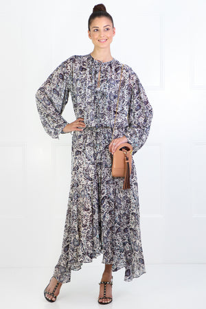 ETOILE LAURELI PRINTED MAXI DRESS L/S CHALK
