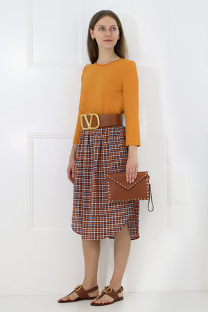 TULIP MIDI SKIRT BROWN CHECK